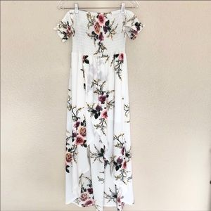 White Floral Lightweight High Low Dress-Size M